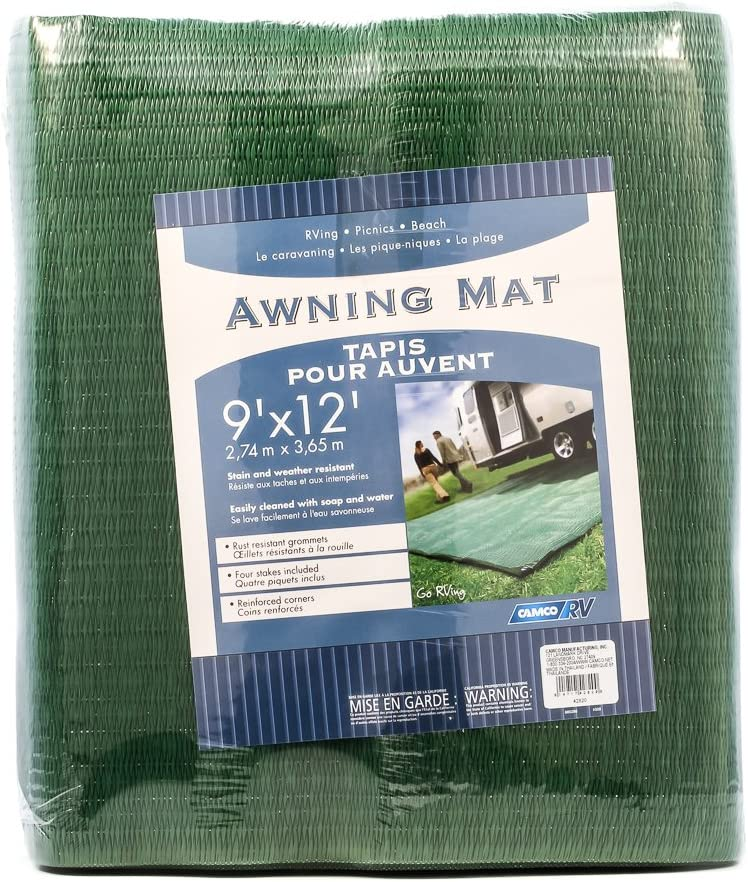 Amazon Com Camco Durable Reversible Rv Camper Awning Mat Mildew And Rust Resistant Help Prevents Dirt From Being Tracked Perfect For Campsites Beaches Picnics 9 X 12 Green 42820 Automotive
