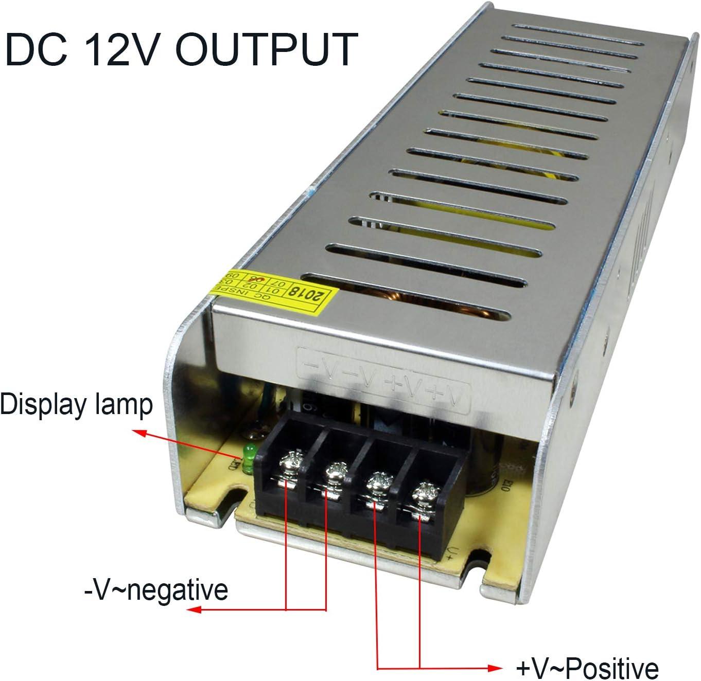 STBTECH LED Driver Transformateur d/'alimentation adaptateur 220V AC /à DC 12V 12.5A 150W Convertisseur Chargeur pour Bande LED Pixel Light Syst/ème de surveillance Afficheurs LED Mute Facile /à cacher