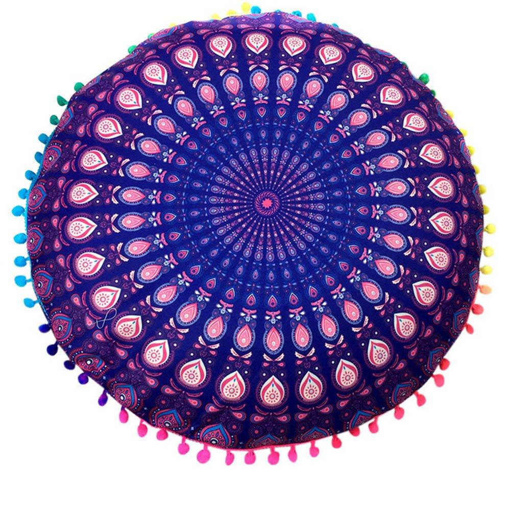 RUmfOラウンド枕カバーIndian Mandalaスタイル床枕ケースボヘミアンクッションカバーオットマンPoufsケースアウトドアクッションカバー B07B91D7NF  パターン2