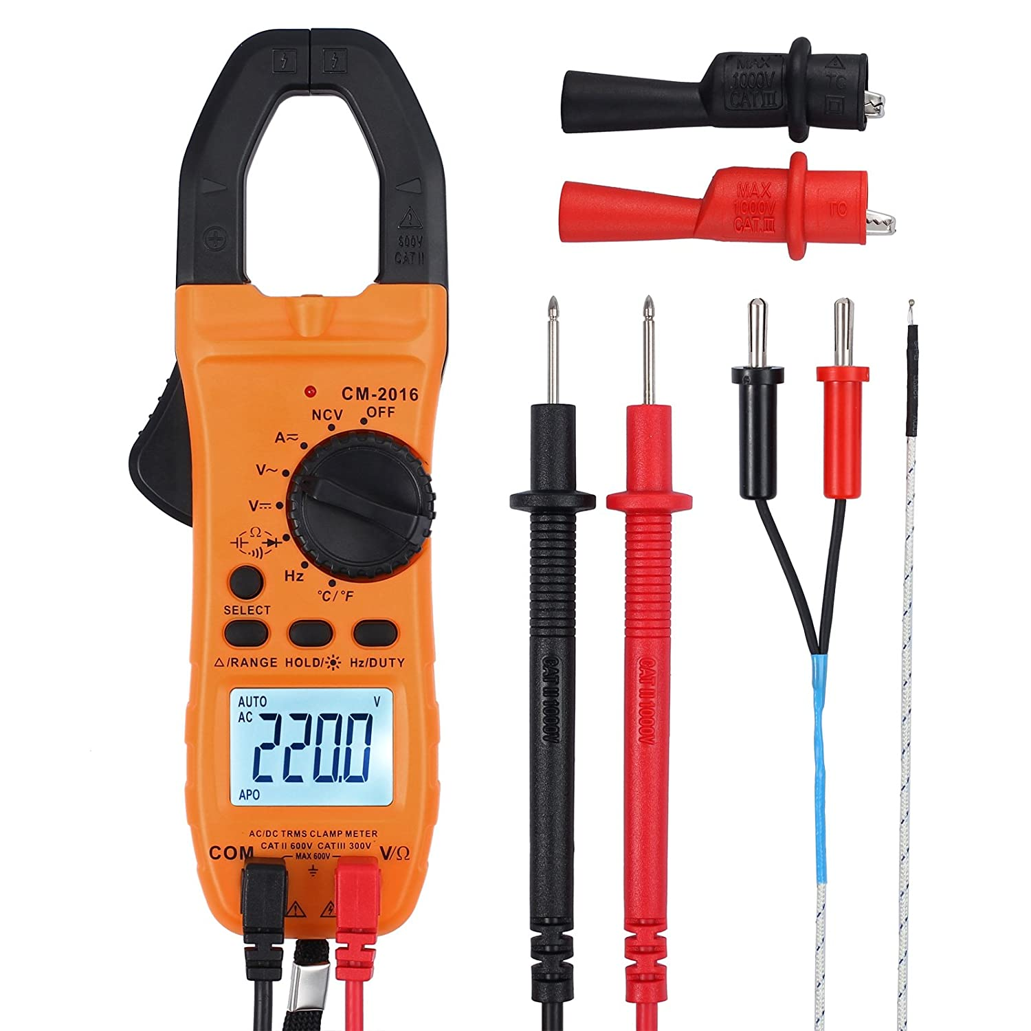 Digital Clamp Meter TRMS Auto Ranging 5999 Counts Multimeter with Alligator Clip Batteries And Bag Multi Tester with Light for Voltage Current Resistance Capacitance Frequency Temperature Diode Test Proster TL301