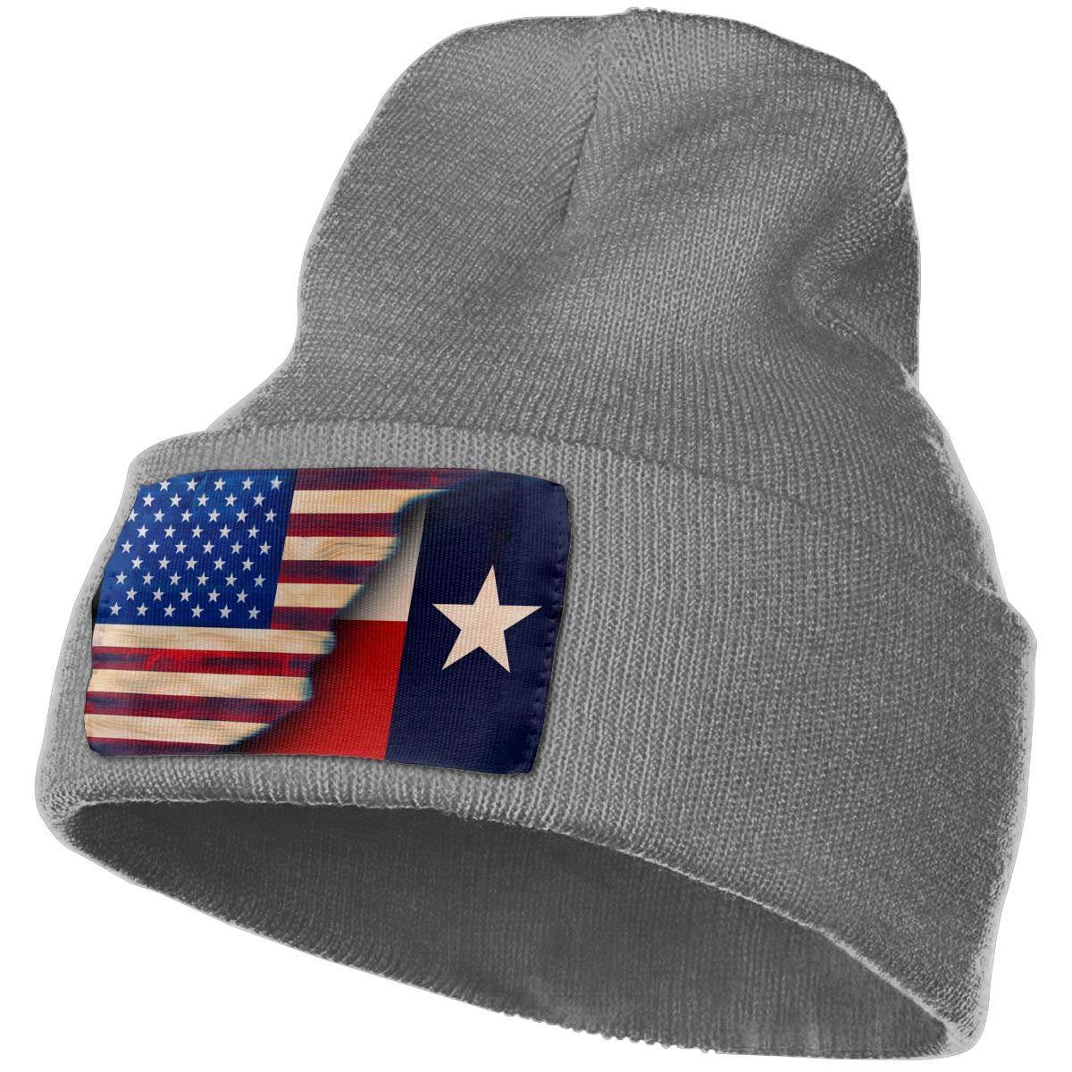 FORDSAN CP Texas with American Flag Mens Beanie Cap Skull Cap Winter Warm Knitting Hats.