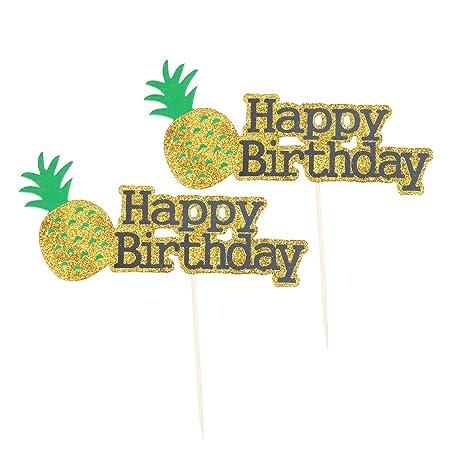 BESTOYARD 2 Unids Glitter Pineapple Cake Topper Feliz ...