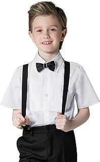 ELPA ELPA Boys Shirt White Short Sleeve Dress Shirt Button Down Summer Shirt