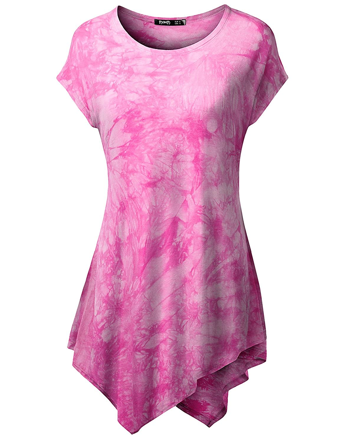 53670a664f0 Machine wash cold   Tumble dry   Do not bleach. TWINTH Womens Short Sleeve  Tie Dye Handkerchief Hem Loose Fit Tunic with Plus Size   Long sleeve Tunic  with ...