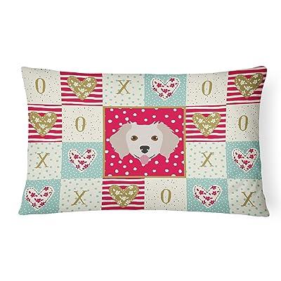 Caroline's Treasures CK5238PW1216 Small Greek Domestic Dog Love Canvas Fabric Decorative Pillow, 12H x16W, Multicolor : Garden & Outdoor