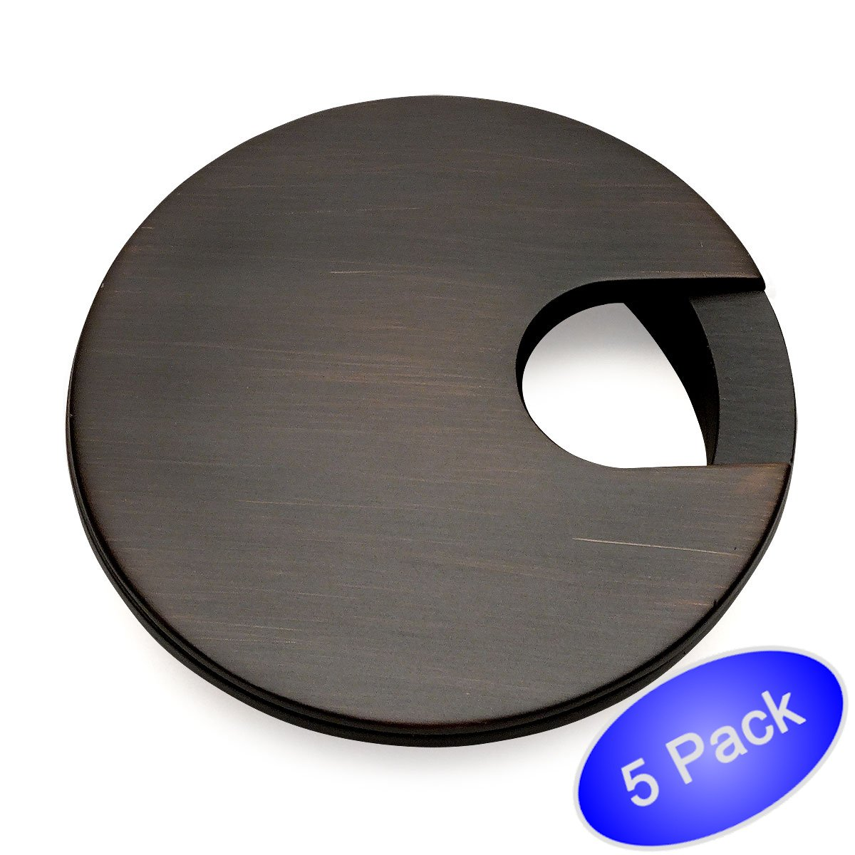 5 Pack - Cosmas 50203ORB Oil Rubbed Bronze 2-1/2'' Two Piece Zinc (Metal) Desk Grommet - 3'' Overall Diameter