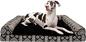 Furhaven Pet Dog Bed - Cooling Gel Memory Foam Plush Kilim Southwest Home Decor Traditional Sofa-Style Living Room Couch Pet Bed with Removable Cover for Dogs and Cats, Black Medallion, Jumbo Plus
