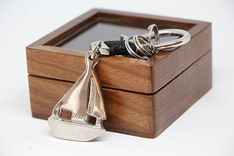 llavero barco caja madera niquel nautica marinero capitan ...