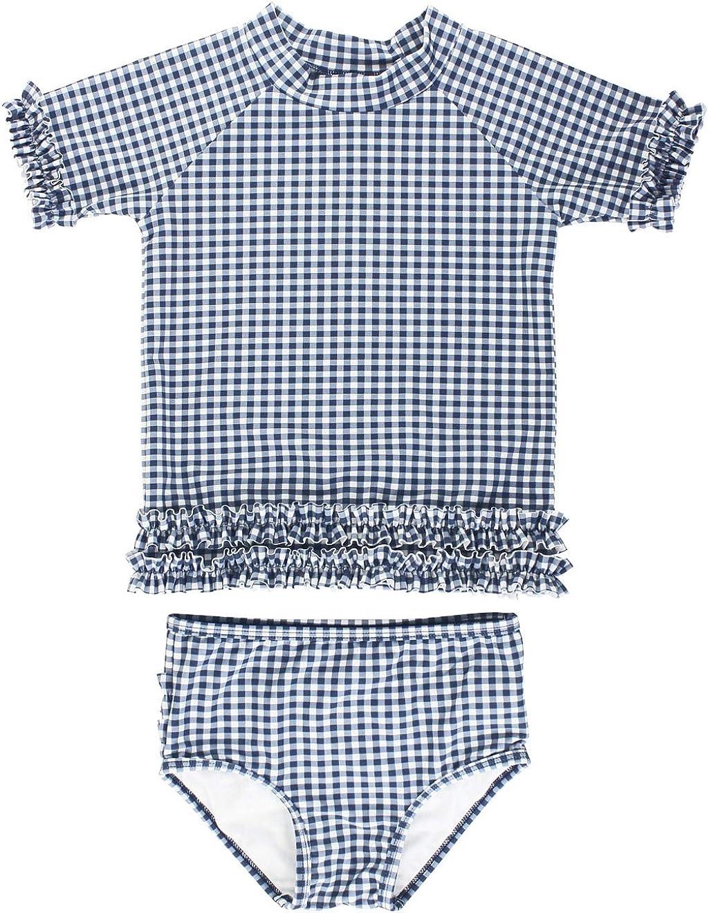 Sun Protection RuffleButts Girls Short Sleeve Printed Rash Guard Two Piece Swimsuit Set UPF 50