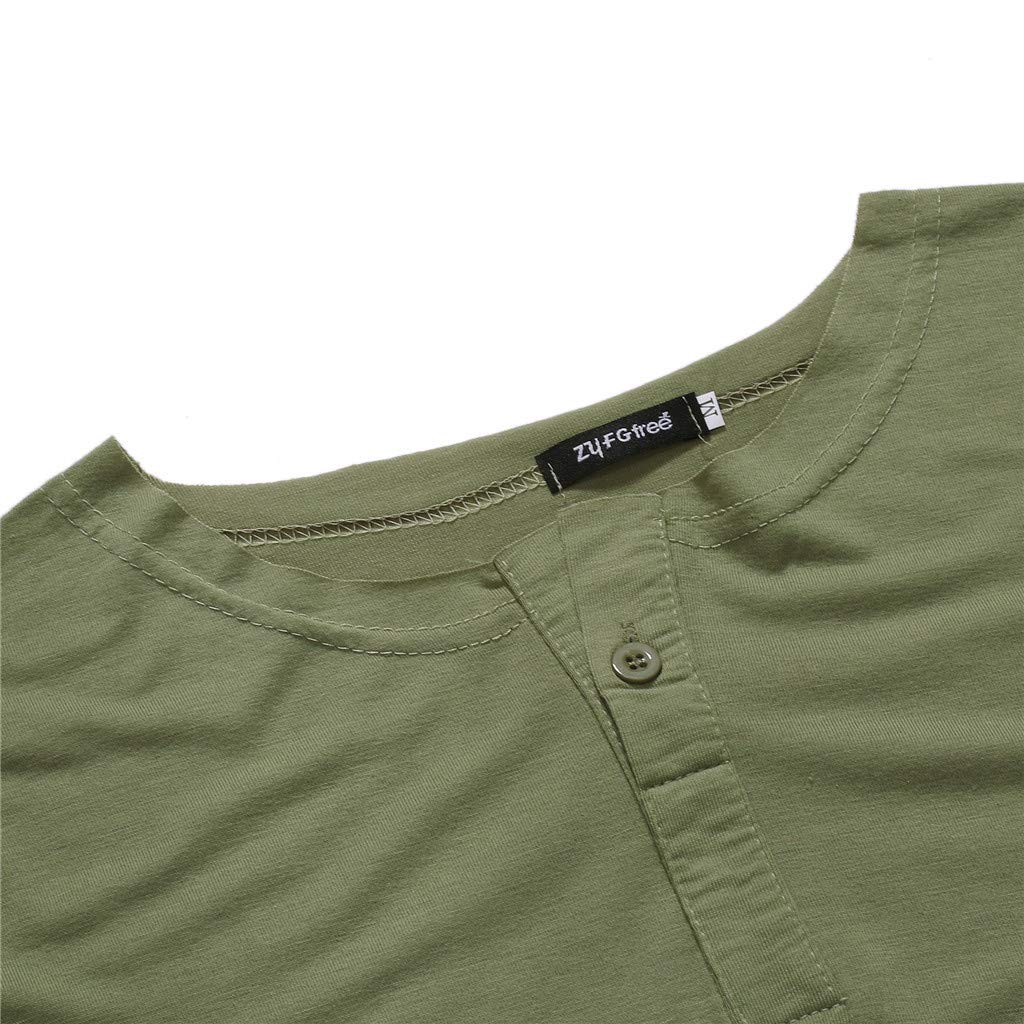 Pandaie Mens Blouse Shirts Fashion Mens Autumn Long Sleeve Casual Fit Cotton Round Collar Button Top Blouse