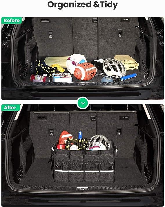 Nero Ergocar Organizzatore per Auto Valigia Auto Organizer Pieghevole Organizzatore di Immagazzinaggio per SUV//Auto//Camion