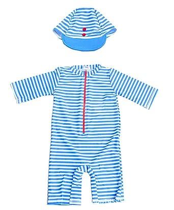 b9399b8972 TAIYCYXGAN Baby Little Boys Swimsuit Rashguard Bathing Suit One Piece  Zipper Swimwear Surfing Suit with Hat ...