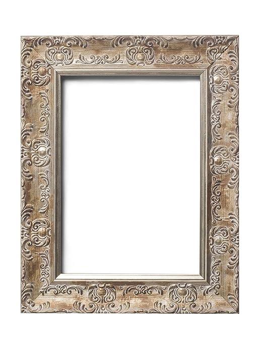 Paintings Frames Marco de Fotos de Oro Envejecido con Marco de Cartel de Madera DM, Listo para Colgar, con lámina de estireno irrompible, Color Blanco ...