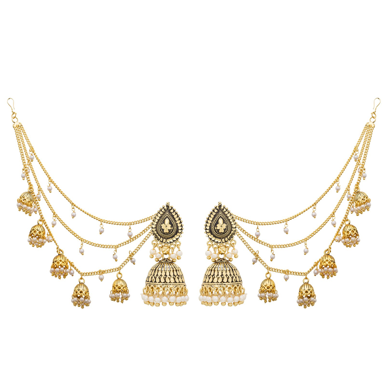 The Luxor Fashion Jewellery Traditional Gold Plated Pearl Long Chain Jhumkha Jhumkhi Earrings for Women and Girls (B07C5QX7X5) Amazon Price History, Amazon Price Tracker