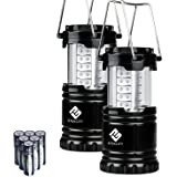 Etekcity 2 Pack Portable LED Camping Lantern Flashlights with 6 AA Batteries - Survival Kit for Emergency, Hurricane, Outage (Black, Collapsible)