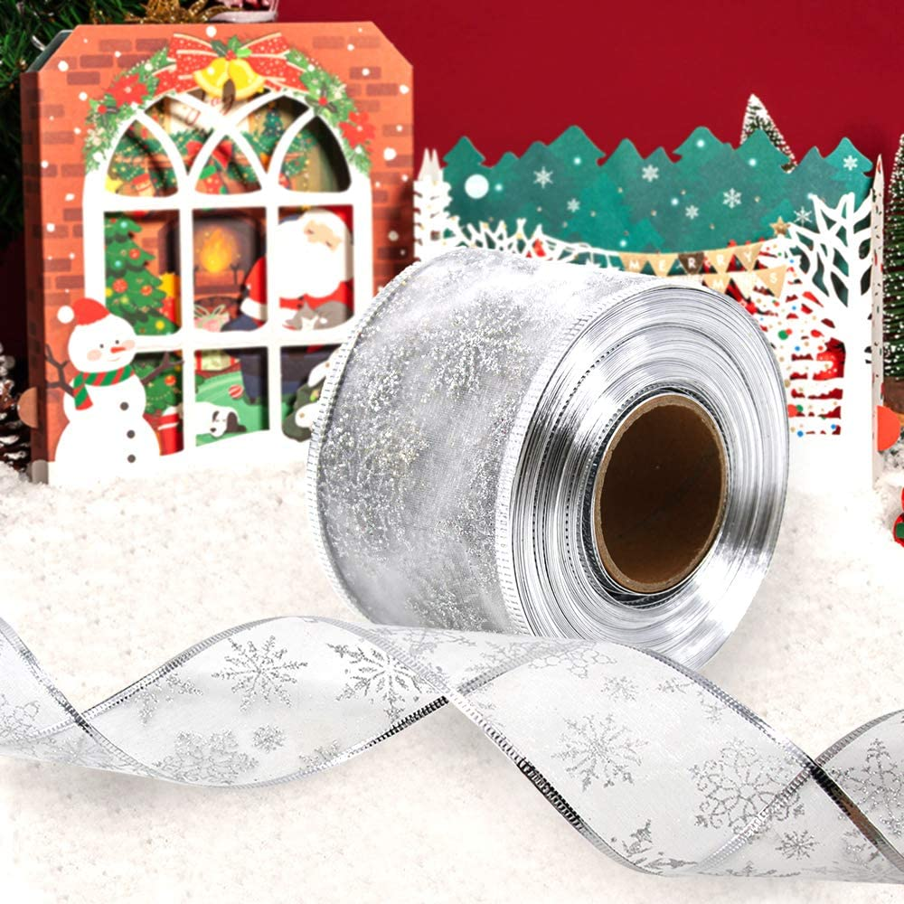 6.3 cm in Width Organza Ribbon Christmas Tree Ribbon Snowflake Glitter Wired Sheer with Spool for Gift Wrapping Party Decoration Silver 20 m Christmas Tree Decoration