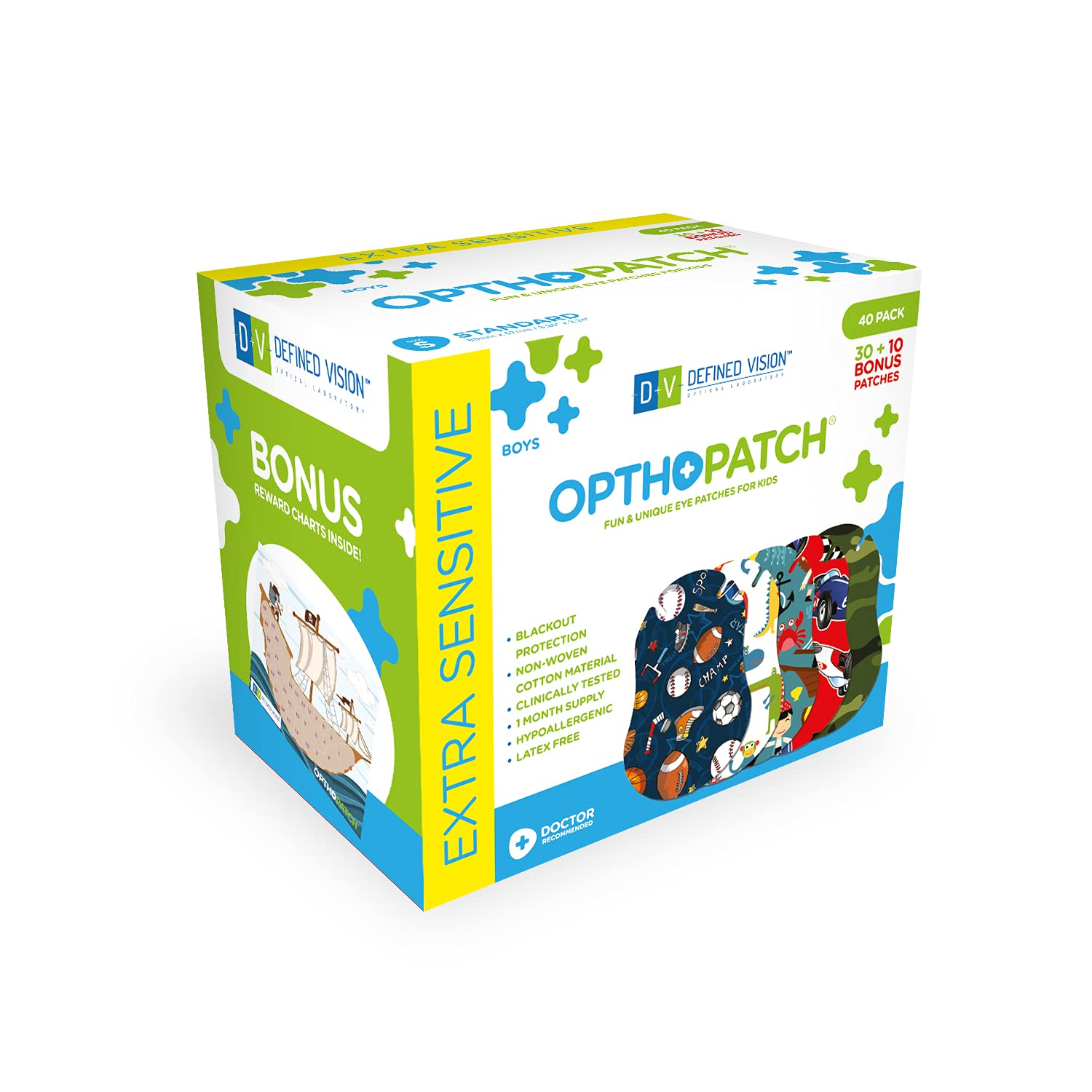Opthopatch Kids Eye Patches - Fun Boys Design - 30 + 10 Bonus Latex Free Hypoallergenic Cotton Adhesive Bandages for Amblyopia and Cross Eye by Defined Vision