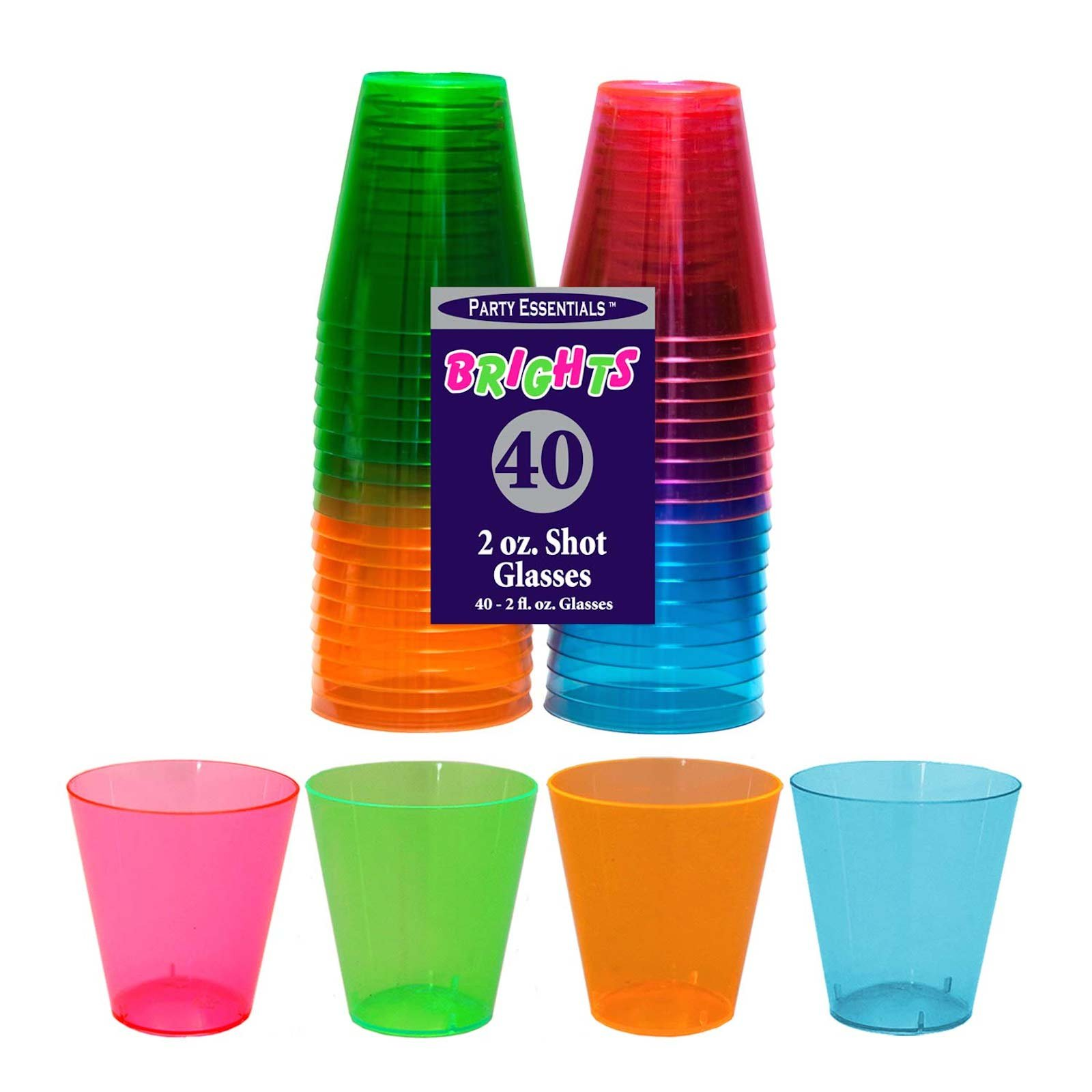 Party Essentials Hard Plastic Shot Glasses, 2 oz, Assorted Neon Colors (Pack of 800)