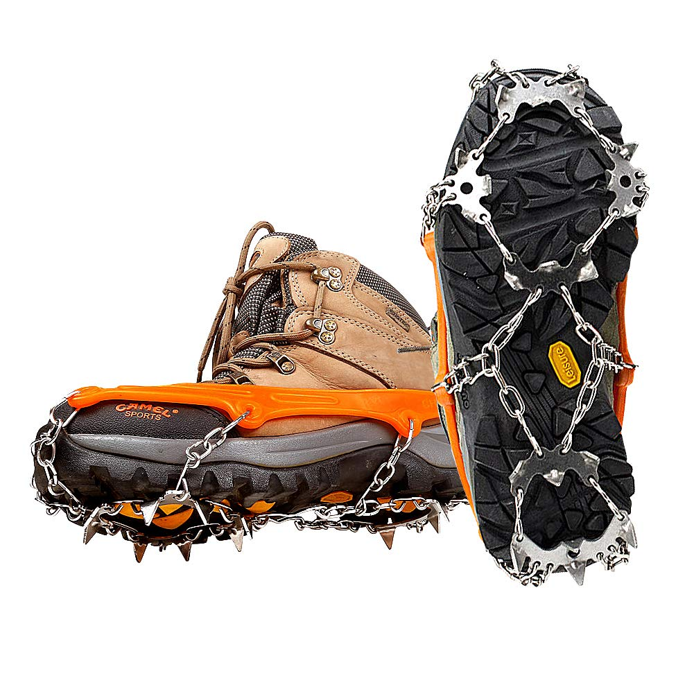 Zmoon 18 Teeth Claws Crampons, Stainless Steel Crampon Snow & Ice Non-slip Shoes Cover for Walking Hiking Camping Mountaineering Climbing - Orange