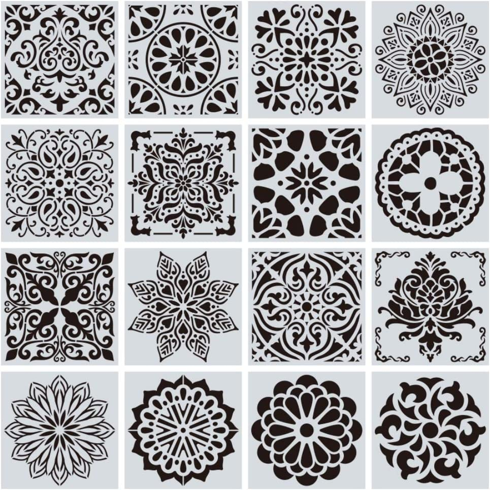 Smartcoco Reusable Stencil Cut Painting Template Floor Wall Tile Fabric Furniture Stencils Mandala Painting Stencils, Set of 16 (5.9x5.9 inch)