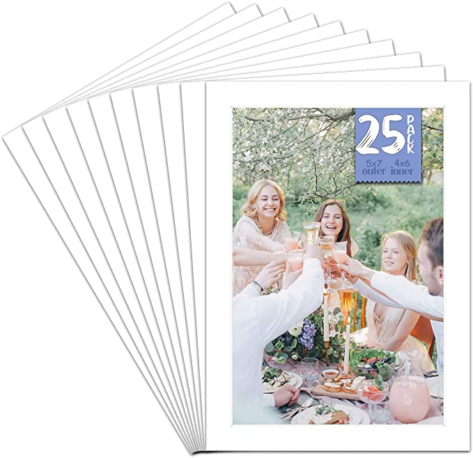 Golden State Art Pack of 25 Black Pre-Cut 8x10 Picture Mat for 5x7 Photo with White Core Bevel Cut Mattes Sets Includes 25 High Premier Acid Free Mats /& 25 Backing Board /& 25 Clear Bags