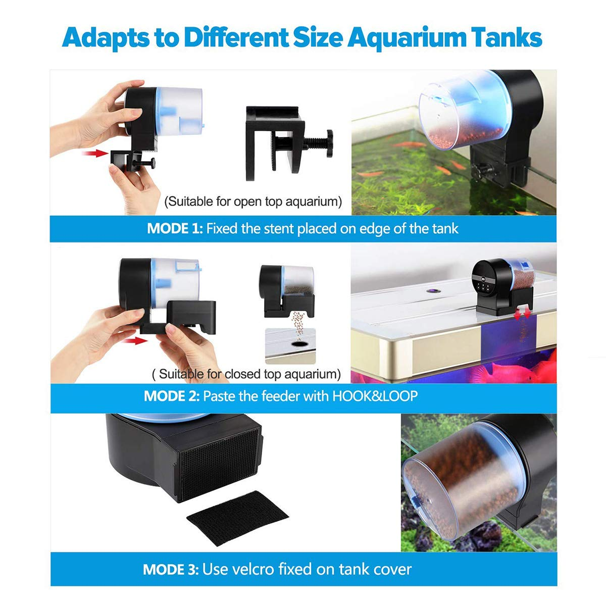 Automatic Fish Feeders by ALZERO, Electric Automatic/Manual Fish Feeder, Aquarium Tank Timer Feeder & Weekend 2 Fish Food Dispenser (AK-03) by ALZERO-Pet Supplies (Image #3)