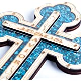 "'Jesus Savior' Wall Wood Cross Filled with Turquoise Special Energy Stones 11"" the Perfect Easter Gift"