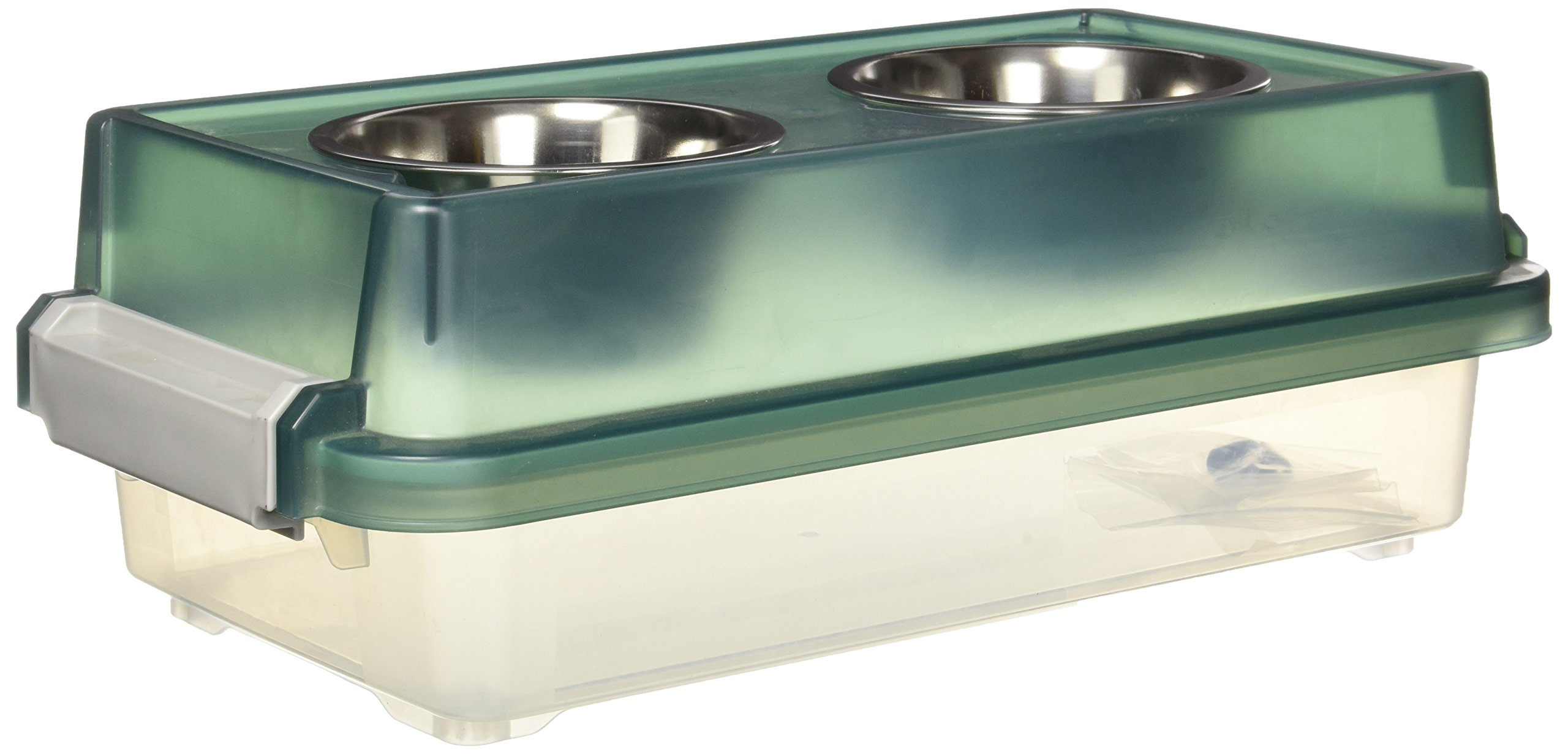 IRIS USA, Inc. IRIS Small Elevated Feeder with Airtight storage, Green