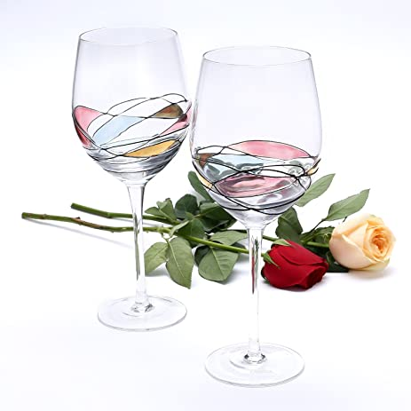 Amazon.com | Wine Glass - LAMIGA Unique Hand Painted Gifts for ...