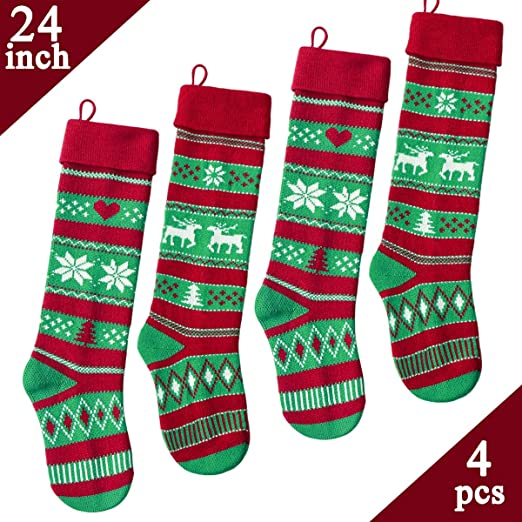 for Family Holiday Season Decorations JOYIN 4 Pack 18 Christmas Stockings Large Size Rustic Cable Knit Xmas Stocking in Red /& Green