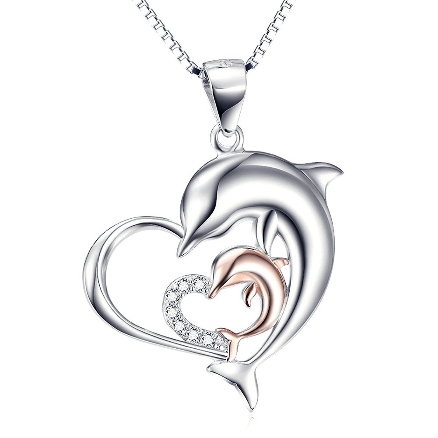 BGTY Sterling Silver Rose Gold Double Dolphin Love Heart Pendant Necklace, Box Chain 18''