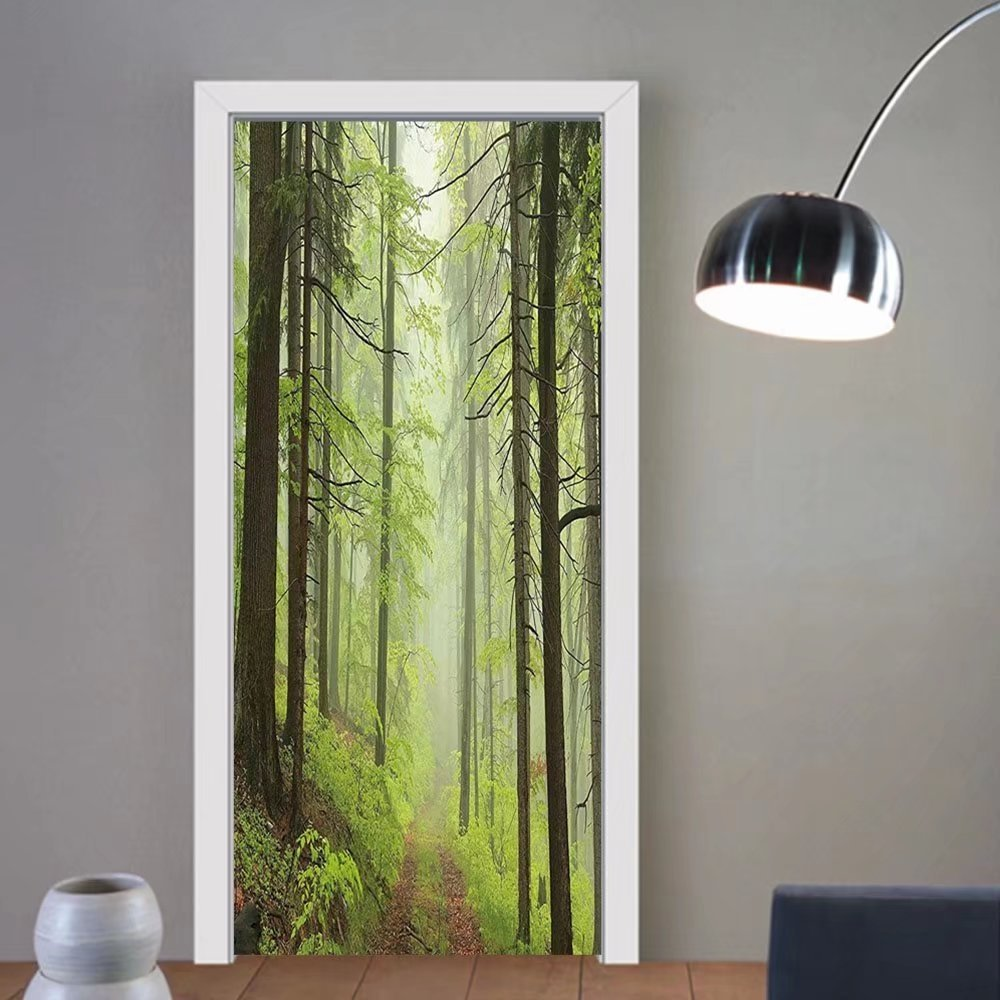 Gzhihine custom made 3d door stickers Outdoor Trail Trough Foggy Alders Beeches Oaks Coniferous Grove Hiking Theme Light Green Light Yellow For Room Decor 30x79