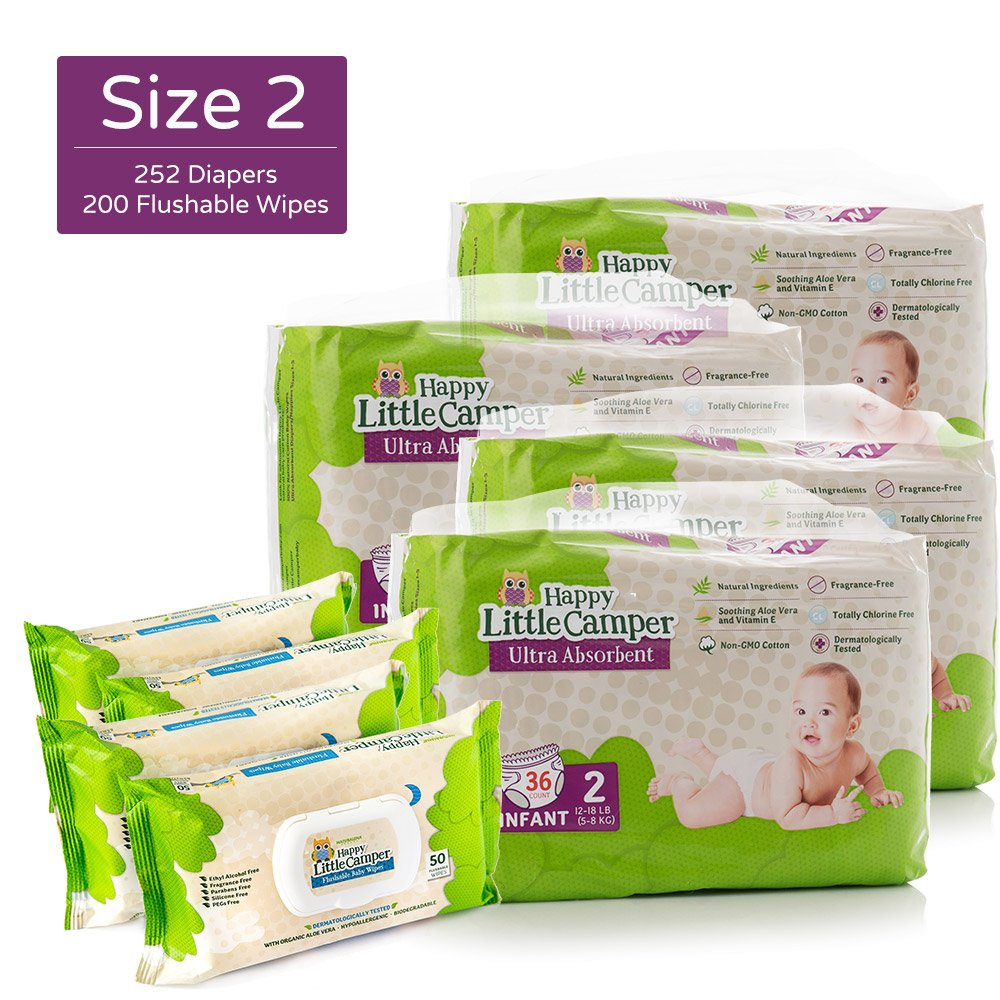 Happy Little Camper Ultra Absorbent Hypoallergenic Natural Diapers, Size 2 (12-18 lbs), 252 Count, Safe Flushable Wipes, 200 Count, Monthly Supply Combo Bulk Pack