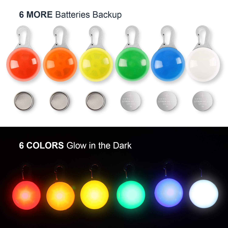 LED Cane Collare Luminoso, MENNYO 6 Pezzi Luci di Sicurezza a LED Impermeabili con 6 Batterie di Ricambio Extra, Ideale per Passeggiatori del Bambino e Zaini per Bambini - Regalo per cani