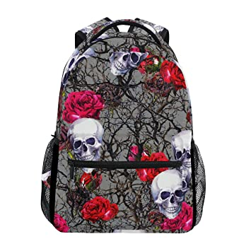 73483ce2b6c8 JSTEL Skulls Rose Flowers and Branches Watercolor School Backpacks ...