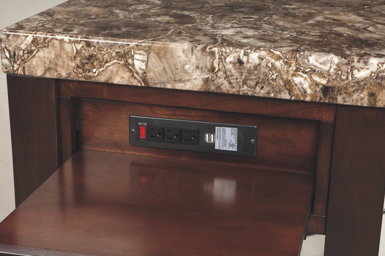 Ashley Furniture Signature Design - Kraleene End Table - Pull Out Tray with USB Ports - Contemporary - Dark Brown by Signature Design by Ashley (Image #3)