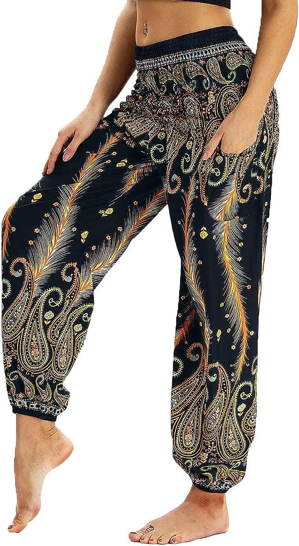 Lcoco/&Dream Yoga Harem Pants for Women Baggy Boho High Waist Gyspy Pants
