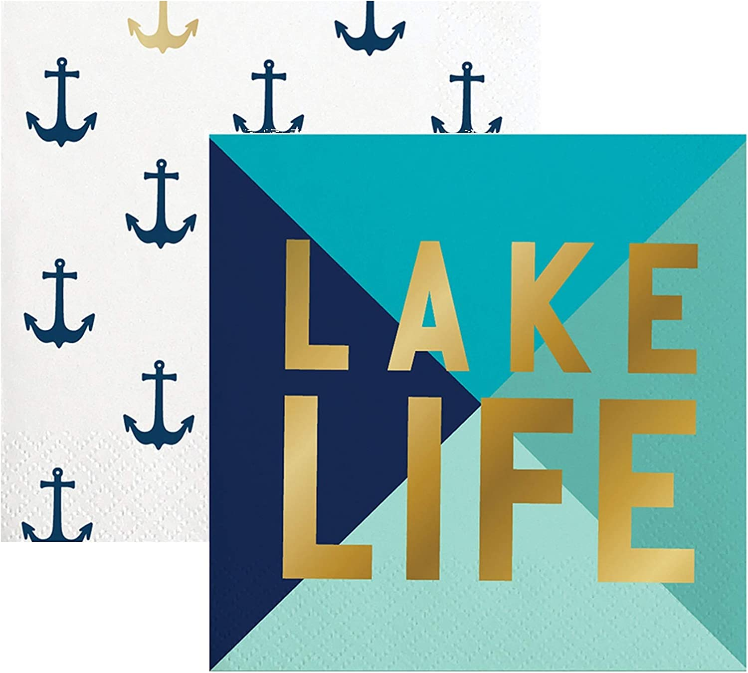 40 Nautical and Lake Themed Paper Napkins | Napkin Set For Cocktail Beverage, Luncheon, Dessert, Appetizer, Birthday Or Marine Theme Party | 2 Packs Of 20 Napkins
