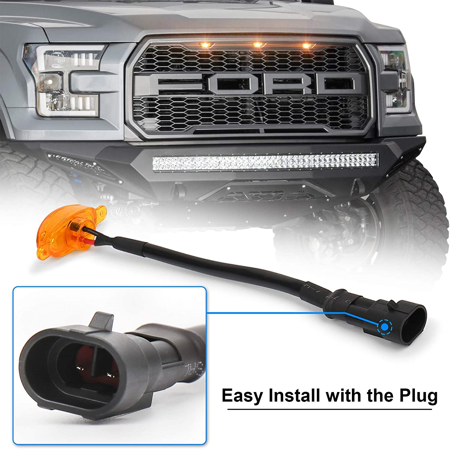 ZJUSDO Raptor Grill Lights Amber Waterproof Front Grille Lights Compatible with Ford F150 F250 F350 2004-2019