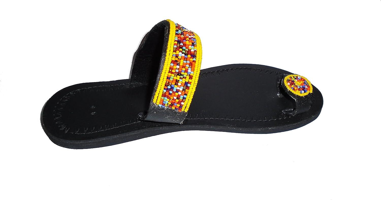 African Maasai beaded sandals for women Leather sandals for women Gladiator shoes for women Handmade sandals for women- Flat sandals