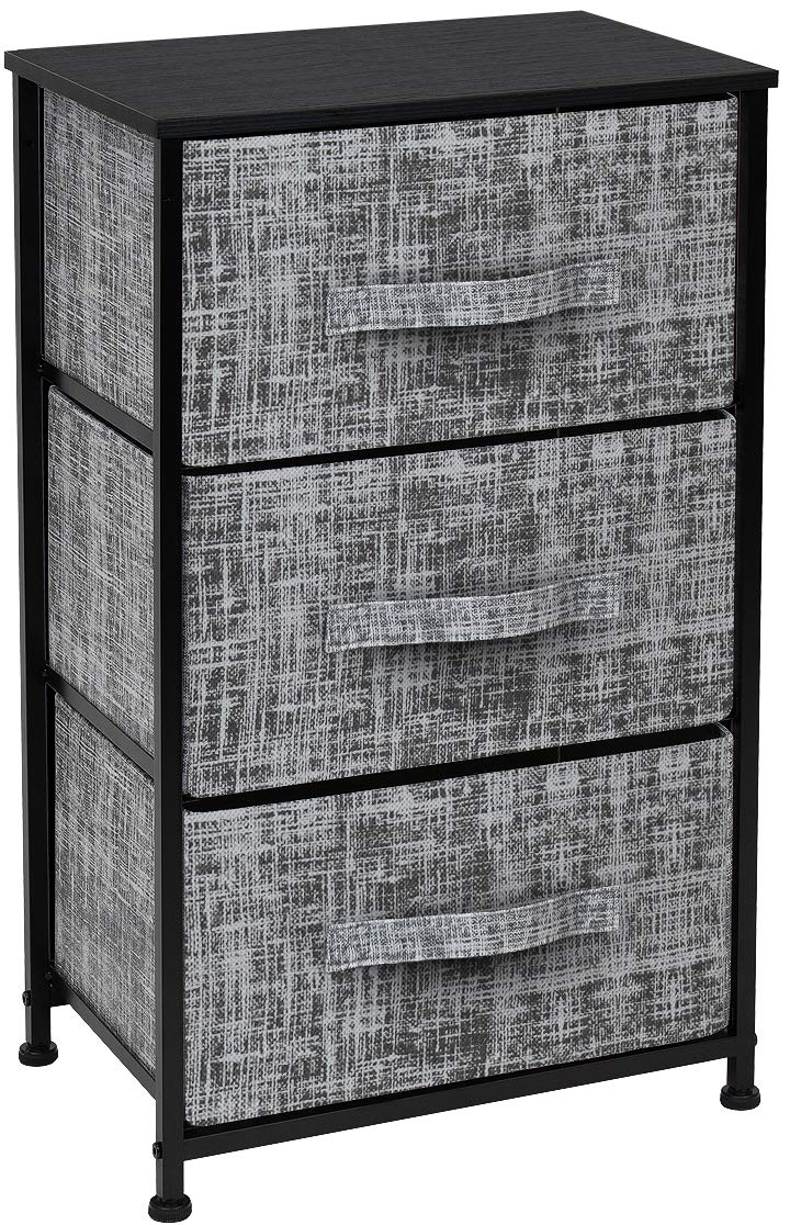 Sorbus Nightstand with 3 Drawers - Bedside Furniture & Accent End Table Storage Tower for Home, Bedroom Accessories, Office, College Dorm, Steel Frame, Wood Top, Easy Pull Fabric Bins (Gray/Black)