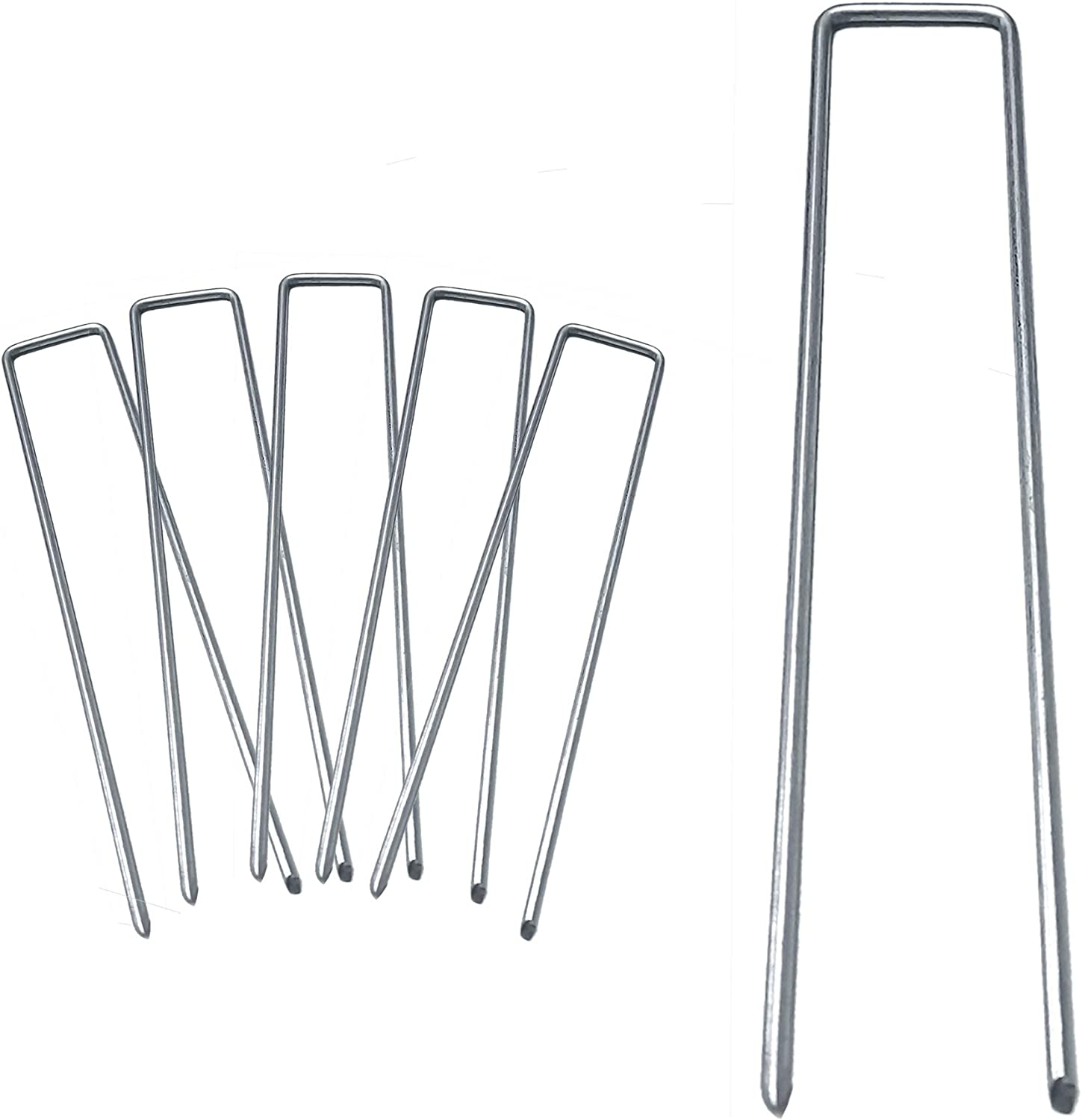 BEBEKULA 100 Pack 6 Inch Garden Stakes, Galvanized Landscape Staples, Heavy Duty Sod Pins for Weed Barrier Fabric, Ground Cover, Irrigation Tubing (100)