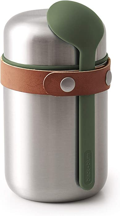 BLACK + BLUM Vacuum Food Flask Leak Proof Insulated Stainless-Steel Lunch Container with Ladle Spoon Ideal for Hot and Cold Food, 400 ml / 13.5 fl oz, Olive