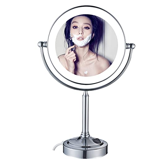 GuRun 8-inch Tabletop Swivel LED Lighted Makeup Mirror with 7x Magnification,Chrome Finish M2011D(8in,7x)