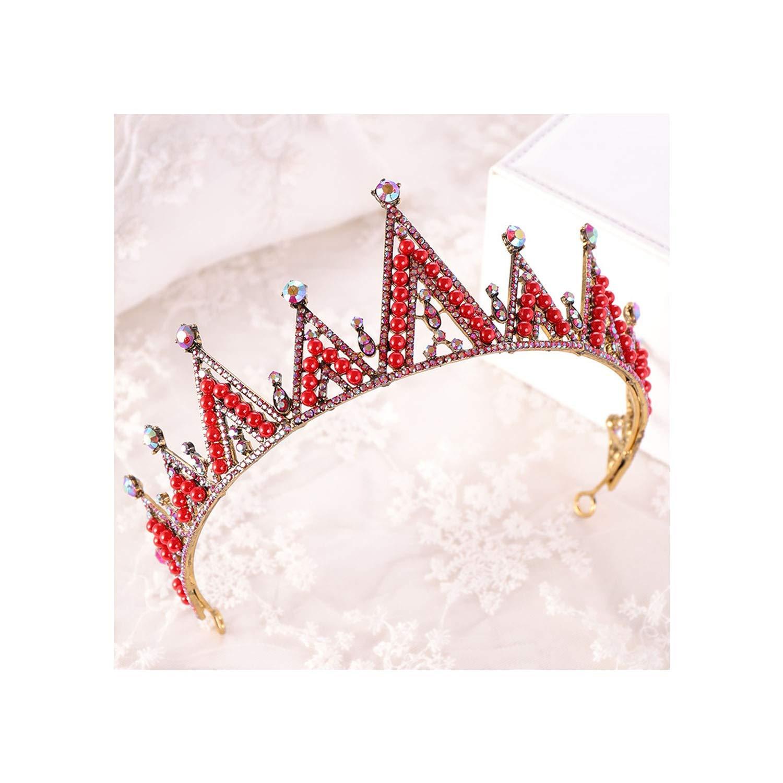Vintage Multicolored Luxury  Pearls Crystal Tiara Crown Bridal Jewelry Head Band