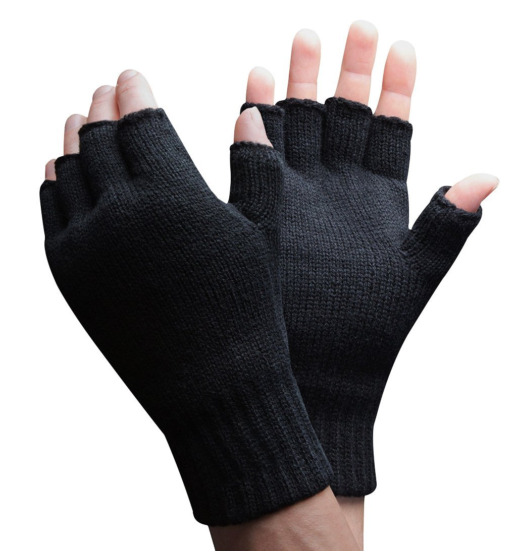Mens Thinsulate Thermal Insulated Black Knit Winter Fingerless Gloves (L/XL, Black)