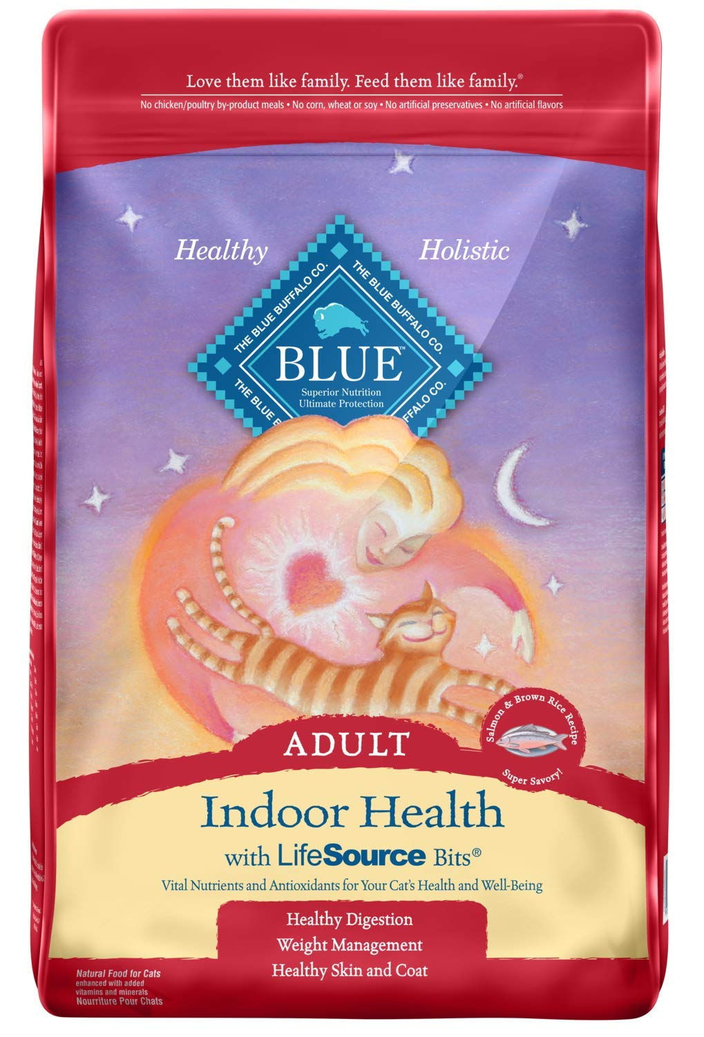 Blue Buffalo Indoor Health Natural Adult Dry Cat Food, Salmon & Brown Rice 15-lb