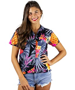 King Kameha Funky Hawaiian Shirt Blouse, Shortsleeve, Pineapple, Black Grey, XS
