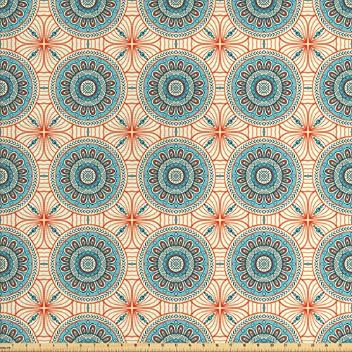 Lunarable Tribal Fabric by The Yard, Abstract Aztec Style Tribal Ethnic Background Flower Pattern Mystical Print, Decorative Fabric for Upholstery and Home Accents, 2 Yards, Aqua and - Aqua Fabric Decor Home