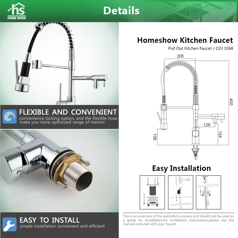 homeshow kitchen pull out sink faucet swivel spout mixer tap